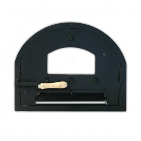 Puerta de acero con cristal para hornos de leña
