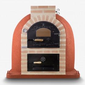 Horno de leña con hornilla y puerta de fundición superior y cristal