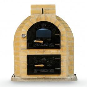 Horno de leña con hornilla con puerta de fundición superior y cristal acabado ladrillo