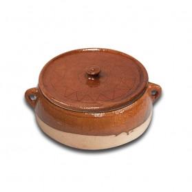 Cazuela de barro con tapa para horno de leña