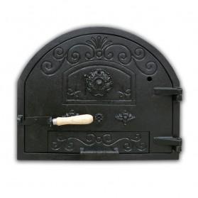 Puerta de hierro fundido superior para hornos de leña