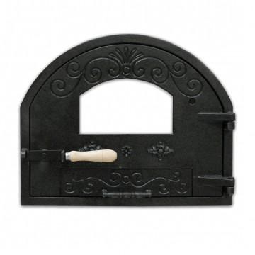 Puerta de fundición superior con cristal para hornos de leña